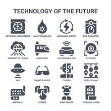 Icon Set Of 16 Technology Of The Future Concept Vector Filled Icons Such As Nanotechnology, Internet Of Things, Eye Scan, Cyborg, Screen, Foldable Phone, Mind Reader, Autonomous Car, Egg Incubator