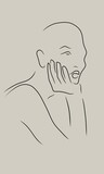 Black outline shillouette of pensive girl leaning on her arm. Dreamy character. Hand drawn digital line illustration on nude muted gray background color. Minimal natural and simple feminine concept. - 438420722
