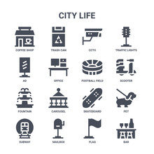 Icon Set Of 16 City Life Concept Vector Filled Icons Such As Trash Can, Ad, Scooter, Skateboard, Mailbox, Bar, Flag, Football Field, Traffic Lights