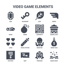 Icon Set Of 16 Video Game Elements Concept Vector Filled Icons Such As Password, Wood, Mining Cart, Monster, Map, Magic Book, Princess, Labyrinth, Wings