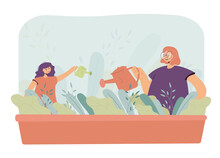Mother And Daughter Watering Plants In Garden. Woman And Girl With Watering Cans Pouring Water On Flowers Flat Vector Illustration. Family, Gardening Concept For Banner, Website Design Or Landing Page
