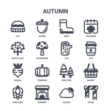 Icon Set Of 16 Autumn Concept Vector Filled Icons Such As Acorn, Maple Leaf, Cup, Pine Tree, Chimney, Scarf, Cloudy, Log, Calendar