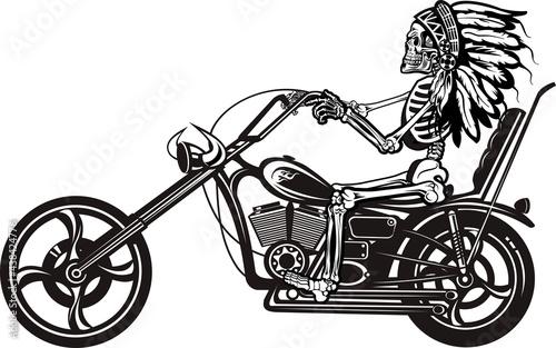 Stampa su Tela Indian Skeleton on Motorbike