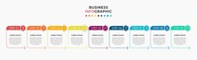 Vector Infographic Design Business Template With Icons And 9 Options Or Steps. Can Be Used For Process Diagram, Presentations, Workflow Layout, Banner, Flow Chart, Info Graph
