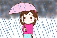 雨がザアザア降ってアンニュイな気持ちになっている少女