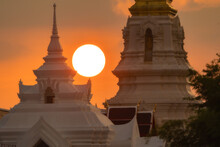 Sunset At A Pagoda In Chaiyaphum Province In Thailand.