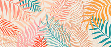 Summer Tropical Background.Colorful Palm Leaves Wallpaper.Abstract Vector Art.Exotic Plant Illustration. Botanical Floral Pattern Design For Poster, Flyer, Cover, Banner.Vacation Concept