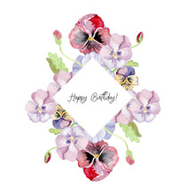 Illustration. Happy Birthday Card. Bright Lettering, Fine Lettering. Against The Background Of The Summer And Spring Flowers. Suitable For Girls. Wreath Of Pansies