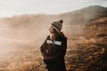 Girl Enjoying Weather In Countryside