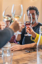 Cheerful People Clinking Glasses With Wine In Light Room