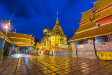 Wat Phra That Doi Suthep Is A Buddhist Temple Is A Major Tourist Attraction Is An Ancient Thai Art With Twilight Blue Bright At Dusk Night And Public Places In Chiang Mai,Thailand.