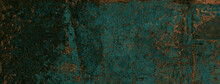 Aqua-Green Metallic Marbled In Rich Hues Of Emerald, Agate Marble Stone In Rusty Gold Effect Across The Surface, Rough Sandstone Marble Background For Wall And Floor Décor And Ceramic Tile Surface.