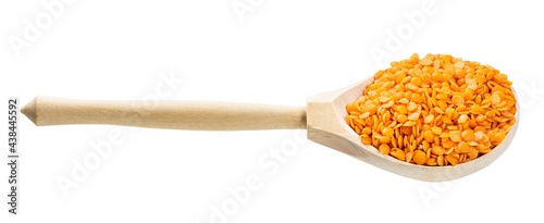 wooden spoon with split red lentils isolated