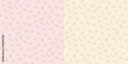 Fotografiet Seamless pattern of small tossed sprigs in pink and yellow variations