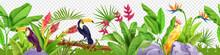Jungle Floral Seamless Border, Vector Tropical Exotic Nature Background, Toucan, Parrot, Paradise Flower. Rainforest Garden Frame, Stone, Green Banana Leaf, Log. Hawaii Jungle Border, Foliage, Birds
