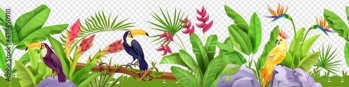 Obraz na plátně Jungle floral seamless border, vector tropical exotic nature background, toucan, parrot, paradise flower