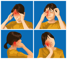 Pain And Injuries In Body Parts. Woman Is Feeling Pain In Head, Eye, Ear And Teeth.