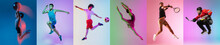Collage Of Different Professional Sportsmen, Fit People In Action And Motion Isolated On Color Background. Flyer.