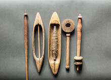 Old Vintage Primitive Wood Parts Of Shuttles Hand Weaving Loom, Antique Wooden Hand Loom