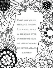 An Adult Coloring Floral Border With A Bible Quote From Jesus