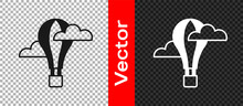 Black Hot Air Balloon Icon Isolated On Transparent Background. Air Transport For Travel. Vector