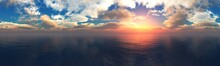 Beautiful Seascape, Water Under The Sky With Clouds, 3D Rendering