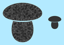Low-poly Mushroom Icon On A Sky Blue Background. Polygonal Mushroom Vector Is Combined From Random Triangles. Triangulated Mushroom Polygonal Icon Illustration.