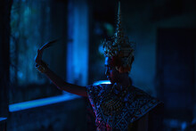 Thai Ghost In Traditional Costume That Appear In History, Portrait Of Asian Woman Make Up Ghost Face With Blood, Women Wearing Typical Thai Dress, Ghost, Halloween Woman And Devil.Halloween Poster