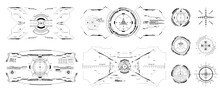 Black And White Layouts And Templates Of Hi-tech Sights For The Game. Modern Aiming System Ui, Hud, Ux. Futuristic Optical Aim. Military Collimator Sight, Gun Targets Focus Range Indication. Vector