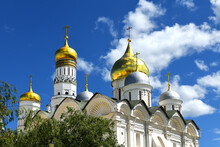 Domes Of Cathedrals Of Moscow Kremlin On Summer Sunny Day. Russia