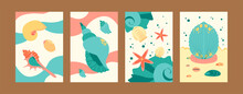 Colorful Marine Collection Of Contemporary Art Posters. Sea World Illustration Set In Pastel Colors. Cute Seashells And Starfish On Gentle Background. Sea Life Concept For Banners, Website Design