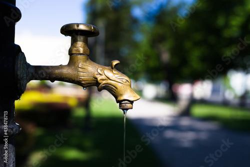Zdobiony kran, z którego cieknie woda