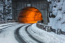 Tunnel Lighting With Dusk Snow Background