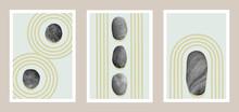 Natural Abstract Japanese Stone Garden Art Set