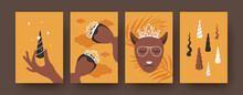 Fairytale Characters Illustrations Set In Bright Colors. Black Princesses With Beautiful Shiny Crowns. Cute Cat In Glasses, Various Horns. Fantasy Concept For Banners, Website Design Or Landing Page