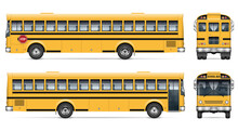School Bus Vector Mockup. Isolated Template Of Schoolbus On White For Vehicle Branding, Corporate Identity. View From Side, Front, Back. All Elements In The Groups On Separate Layers For Easy Editing