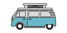 Pop Top Camper Van Or Travel RV For Van Life In Vector Icon
