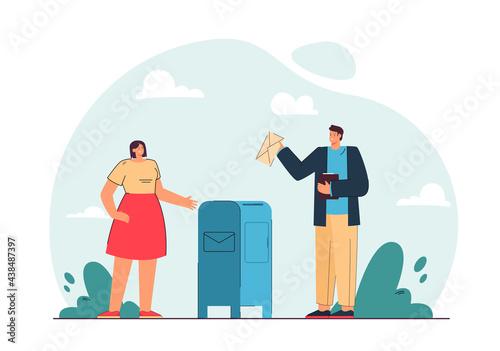 Fotografie, Obraz Man and woman sending letters vector illustration