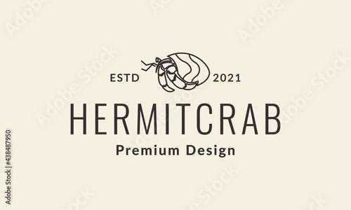 Fotografie, Tablou lines hermit crab vintage logo vector icon illustration design