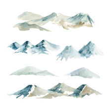 Mountain Range Set. Watercolor Illustration. Hand Drawn Snowy Hill Element. Rocky Mountains Collection. Blue High Mountain Landscape Isolated On White Background