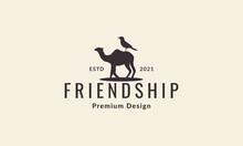 Camel And Bird Shape Vintage Logo Vector Icon Illustration Design