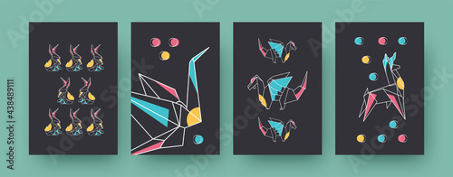 Fototapeta premium Set of contemporary art posters with hares and dragons. Paper animals, crane, llama vector illustrations in pastel colors. Origami, hobby concept for designs, social media, postcards, invitation cards
