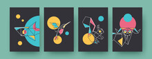 Set Of Contemporary Art Posters With Squirrel And Shark. Paper Hummingbird, Ram Vector Illustrations In Pastel Colors. Origami, Hobby Concept For Designs, Social Media, Postcards, Invitation Cards