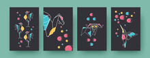 Set Of Contemporary Art Posters With Roosters And Ram. Paper Animals, Dragon, Hummingbird Vector Pastel Illustrations. Origami, Hobby Concept For Designs, Social Media, Postcards, Invitation Cards