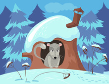 Cute Rodent Character Hiding In Tree House In Winter. Grey Animal In Hollow In Trunk, Snowy Forest, Snow On Roof Cartoon Vector Illustration. Animals, Wildlife, Winter, Seasons, Nature Concept