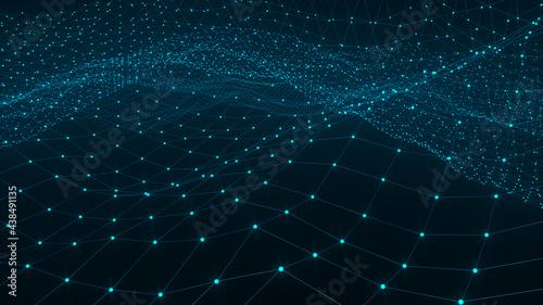Fotografia Blue 3D Mesh —innovative abstract network grid render landscape background digital security technology business creation futuristic science data concept