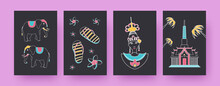 Collection Of Contemporary Posters With Thailand Symbols. Elephants, Thai Dancer, Temple Vector Illustrations, Black Background. Thailand, Culture Concept For Designs, Social Media, Postcards