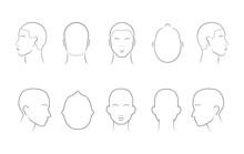 Head Guidelines For Barbershop, Haircut Salon, Fashion. Lined Human Head In Different Angles Isolated On White Background. Adult Human Outline Faces. Set Of 10 Human Head Icons. Vector Illustration