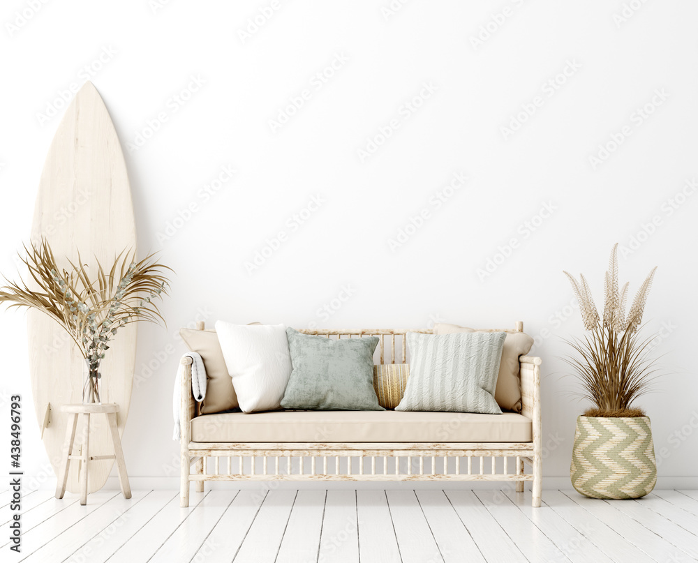 Leinwandbild Motiv - artjafara : Wall mock up in white simple interior with wooden furniture, Scandi-Boho style, 3d render