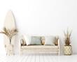 Leinwandbild Motiv Wall mock up in white simple interior with wooden furniture, Scandi-Boho style, 3d render
